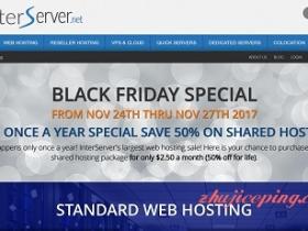 #blackfriday# interserver - $1.99注册com/$2.5每月cpanel不限建站主机